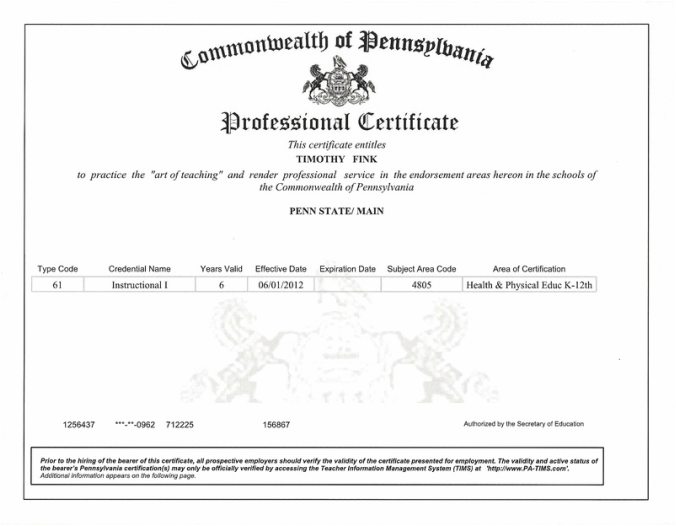 Certifications Timothy Finks Teaching Portfolio